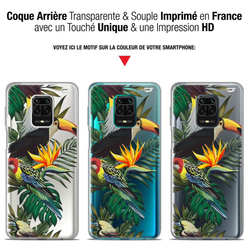 "Coque Gel Xiaomi Redmi Note 9S (6.67"") Extra Fine Motif - Toucan Tropical"