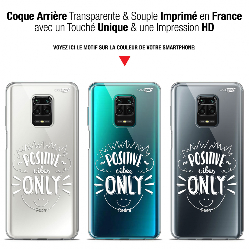 """Coque Gel Xiaomi Redmi Note 9S (6.67"""") Extra Fine Motif - Positive Vibes Only"""