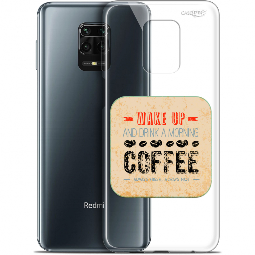 "Coque Gel Xiaomi Redmi Note 9S (6.67"") Extra Fine Motif - Wake Up With Coffee"