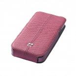 Zoom sur Housse cuir véritable à clapet rotative Textra® Flippo lézard rose iPhone 4/4S