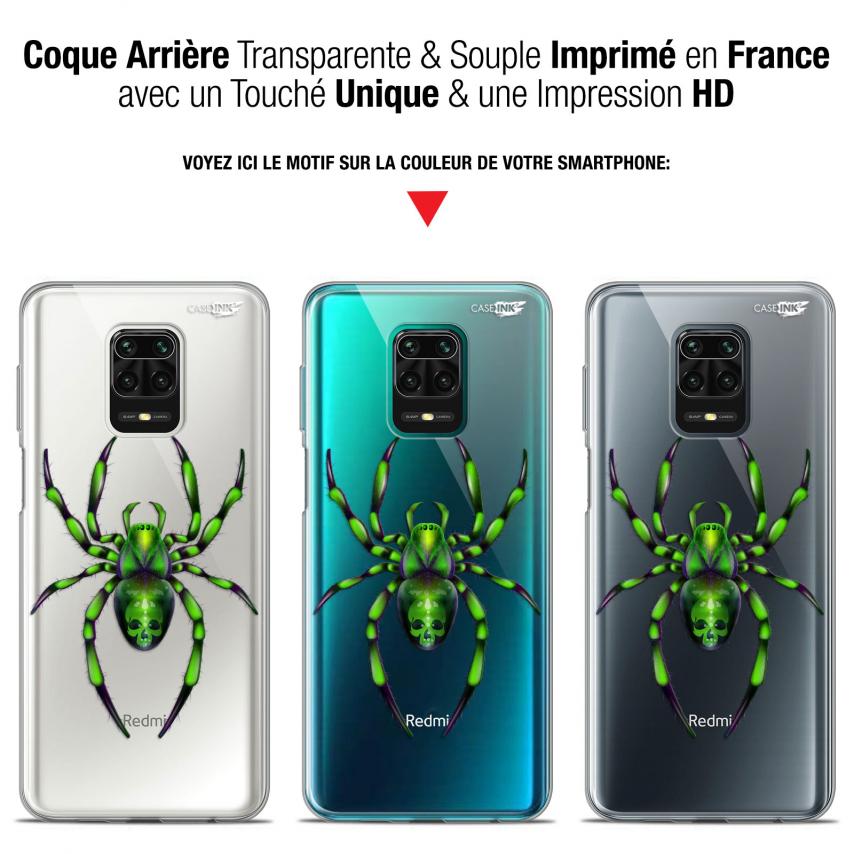 "Coque Gel Xiaomi Redmi Note 9S (6.67"") Extra Fine Motif - Arraignée Verte"