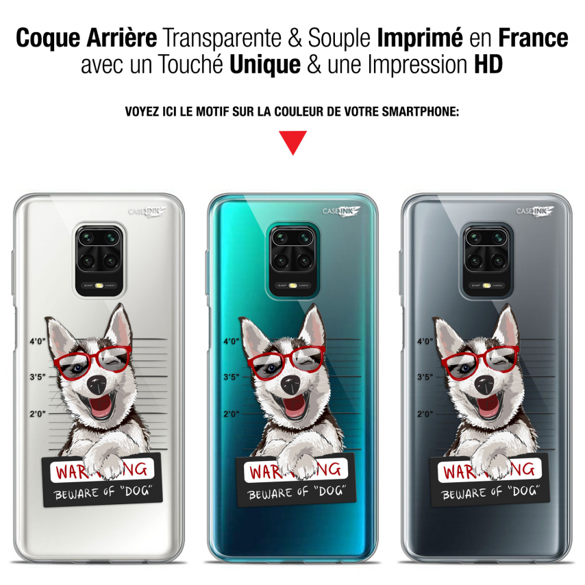 "Coque Gel Xiaomi Redmi Note 9S (6.67"") Extra Fine Motif - Beware The Husky Dog"
