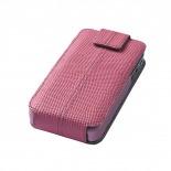 Visuel unique de Housse cuir véritable à clapet rotative Textra® Flippo lézard rose iPhone 4/4S
