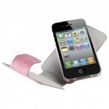 Vue complémentaire de Housse cuir véritable à clapet rotative Textra® Flippo lézard rose iPhone 4/4S