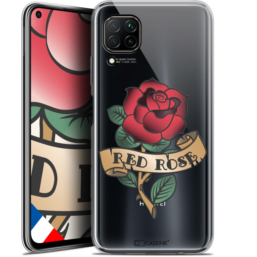 "Coque Gel Huawei P40 Lite (6.4"") Extra Fine Tatoo Lover - Red Rose"