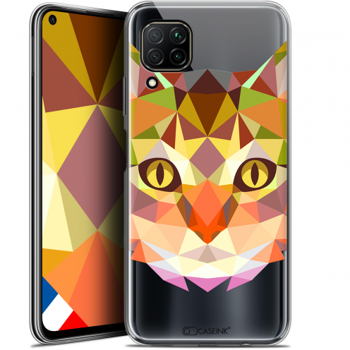"Coque Gel Huawei P40 Lite (6.4"") Extra Fine Polygon Animals - Chat"
