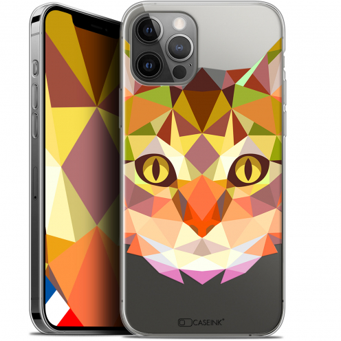 """Coque Gel iPhone 12 / 12 Pro (6.1"""") Extra Fine Polygon Animals - Chat"""