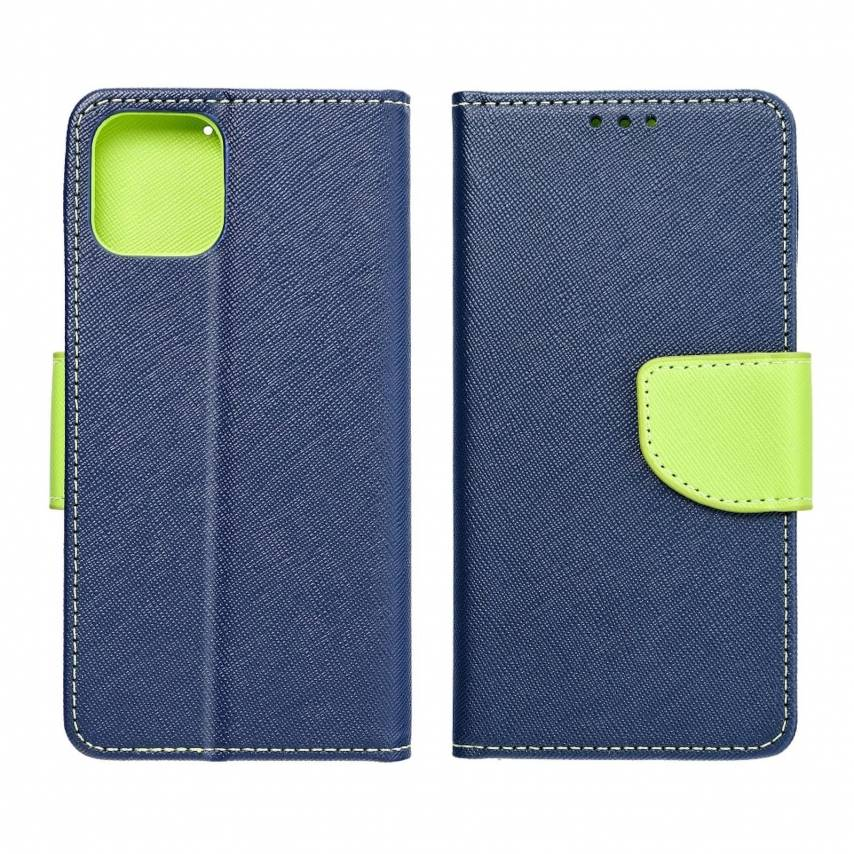 Coque Etui Fancy Book pour Samsung A10 navy/lime