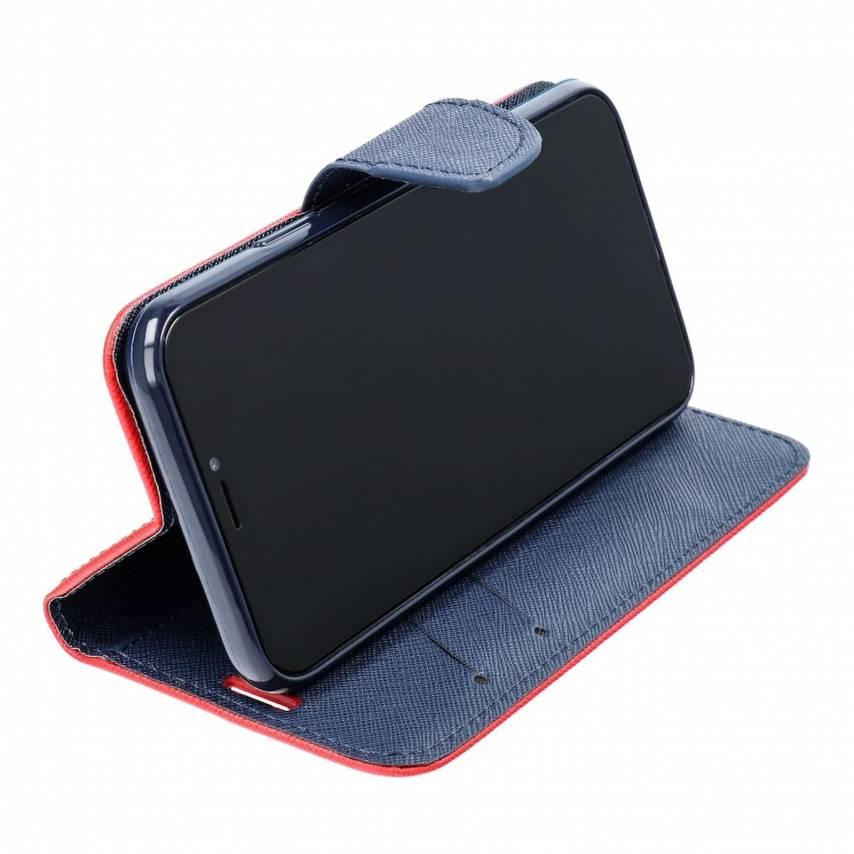 Coque Etui Fancy Book pour Samsung A71 5G Rouge/navy