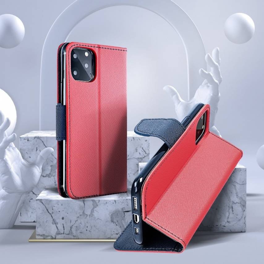 Coque Etui Fancy Book pour Xiaomi Note 8T Rouge/navy