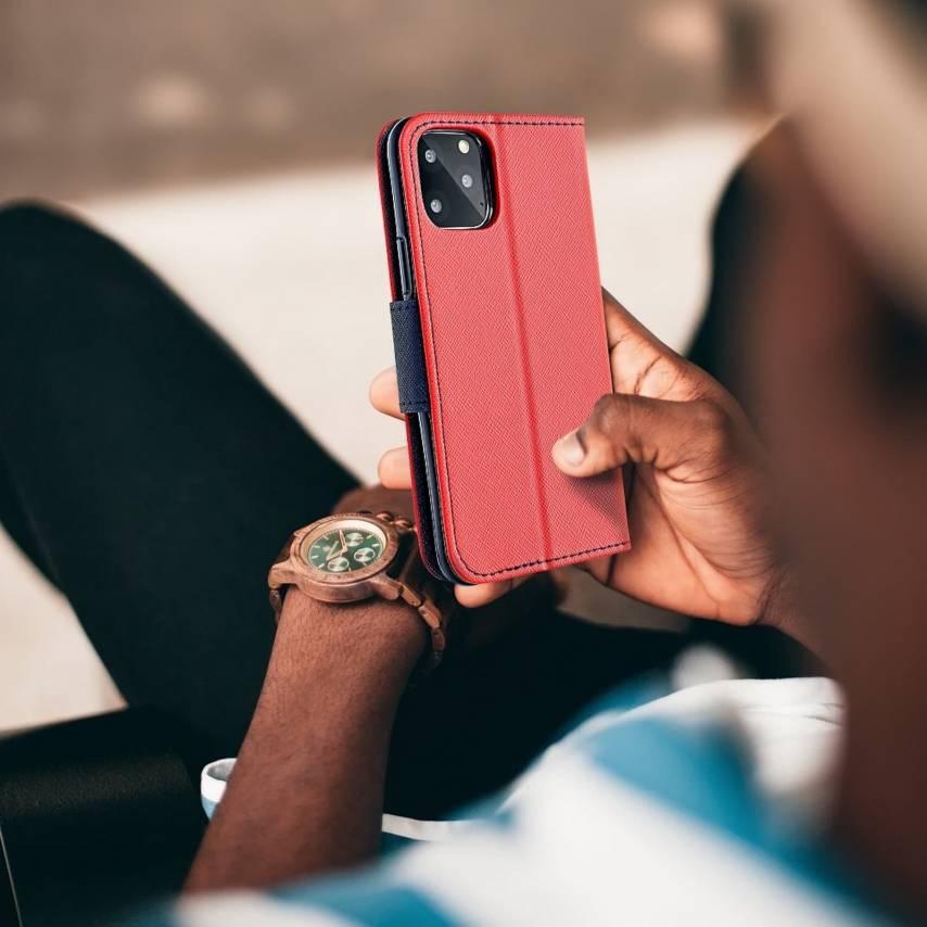 "Coque Etui Fancy Book pour Apple iPhone X / XS (5,8"") Rouge/navy"