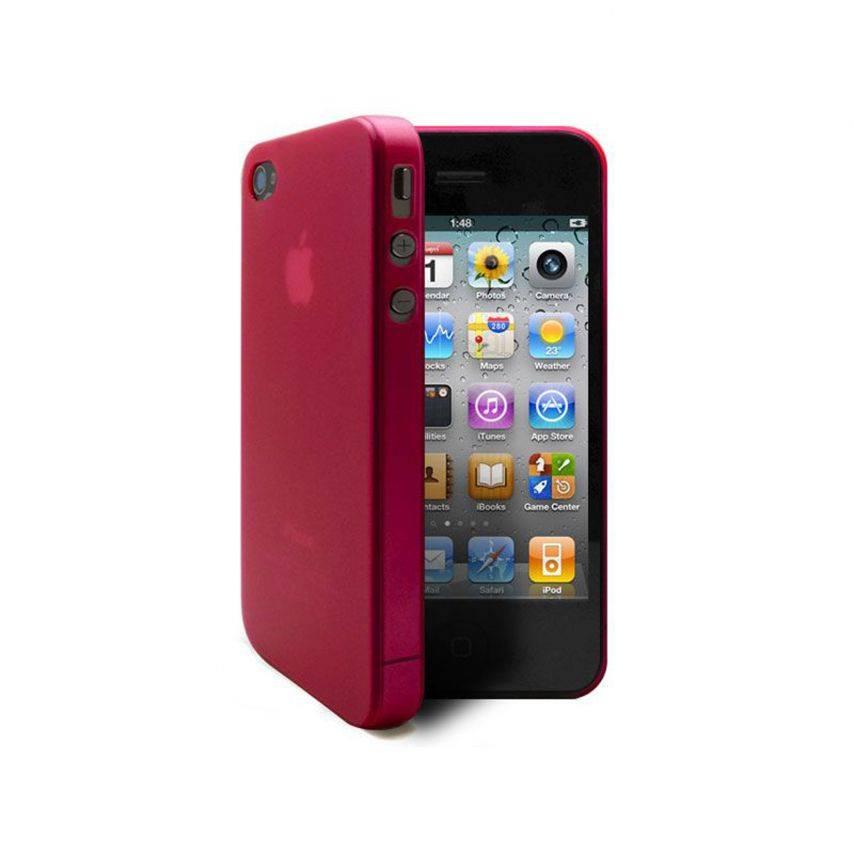 Vue complémentaire de Coque Ultra Fine 0.3mm Frost iPhone 4/4S Rouge