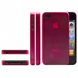 Photo réelle de Coque Ultra Fine 0.3mm Frost iPhone 4/4S Rouge
