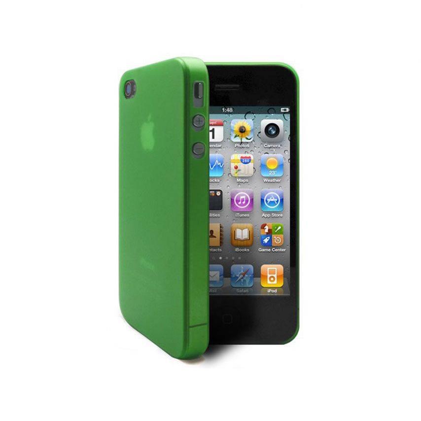 Vue complémentaire de Coque Ultra Fine 0.3mm Frost iPhone 4/4S Verte