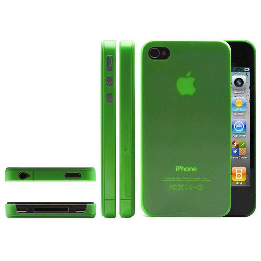 Photo réelle de Coque Ultra Fine 0.3mm Frost iPhone 4/4S Verte