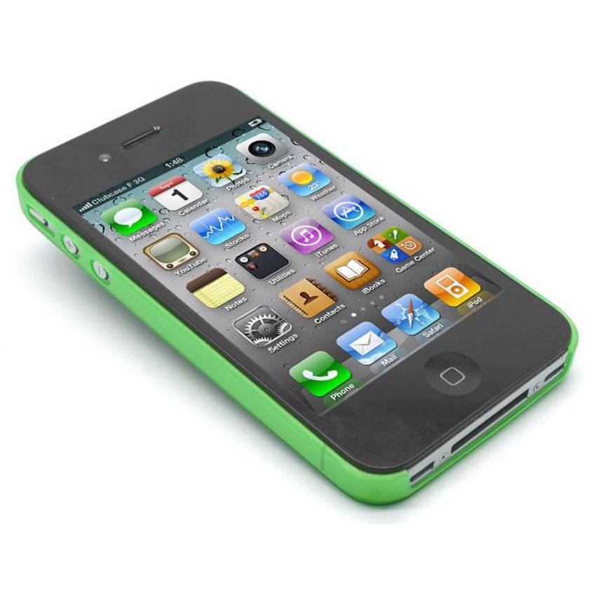 Vue portée de Coque Ultra Fine 0.3mm Frost iPhone 4/4S Verte