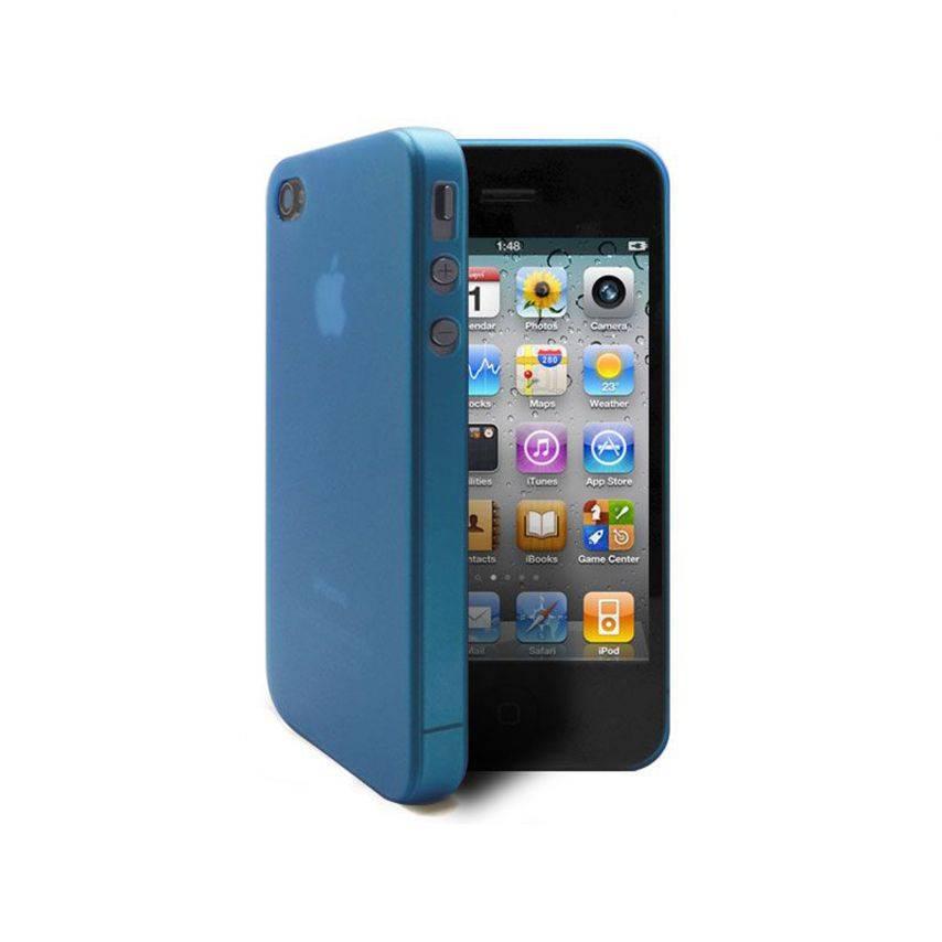 Vue complémentaire de Coque Ultra Fine 0.3mm Frost iPhone 4/4S Bleue