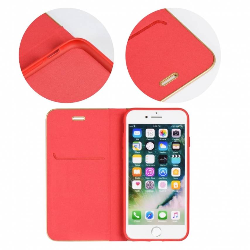 Coque Folio Luna Book pour Apple iPhone Xs Rouge