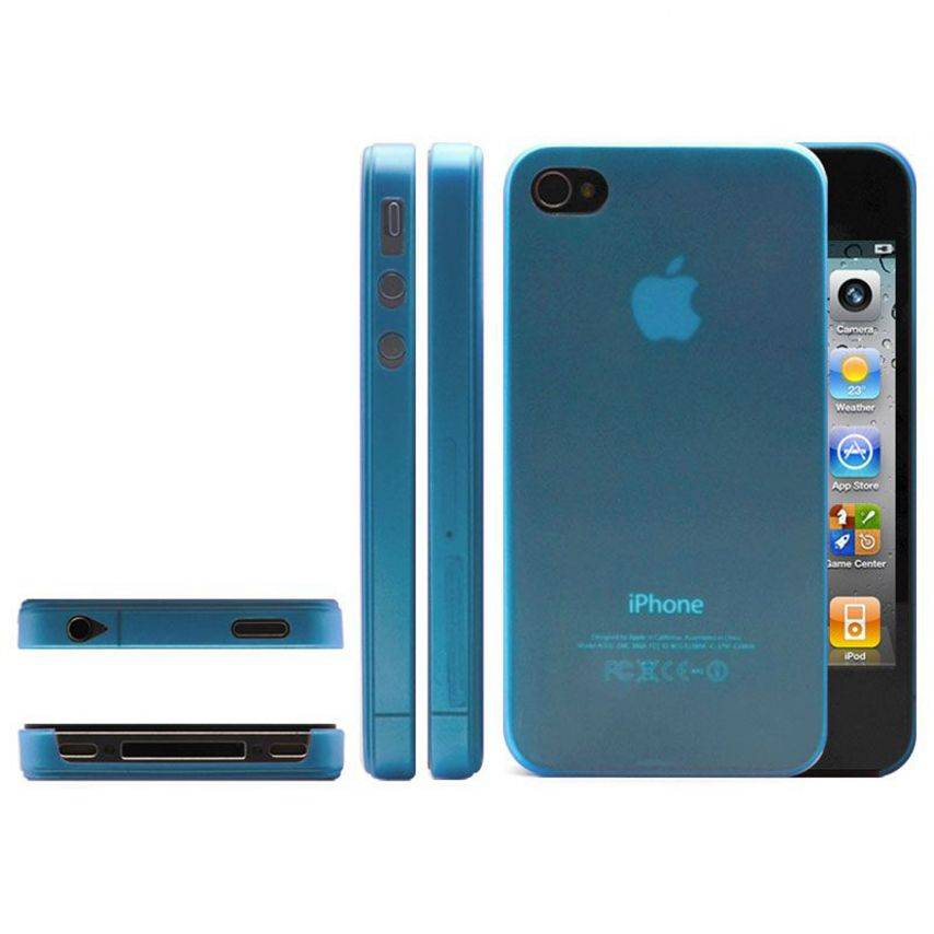 Photo réelle de Coque Ultra Fine 0.3mm Frost iPhone 4/4S Bleue