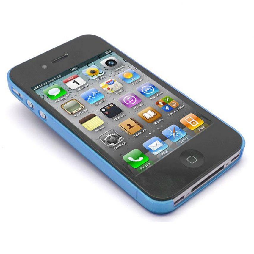 Vue portée de Coque Ultra Fine 0.3mm Frost iPhone 4/4S Bleue