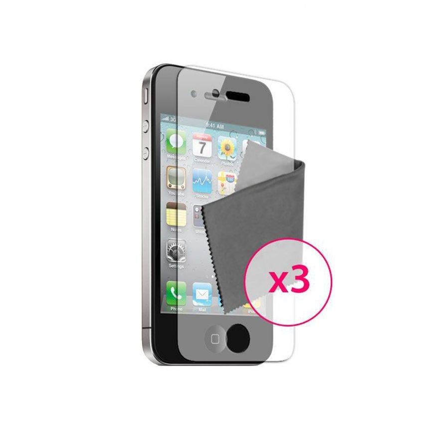 Zoom sur Films de protection anti traces de doigts iPhone 4 / 4S Clubcase ® Lot de 3