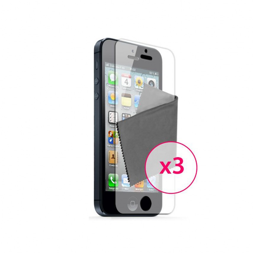 Zoom sur Films de protection anti traces de doigts iPhone 5 Clubcase ® Lot de 3