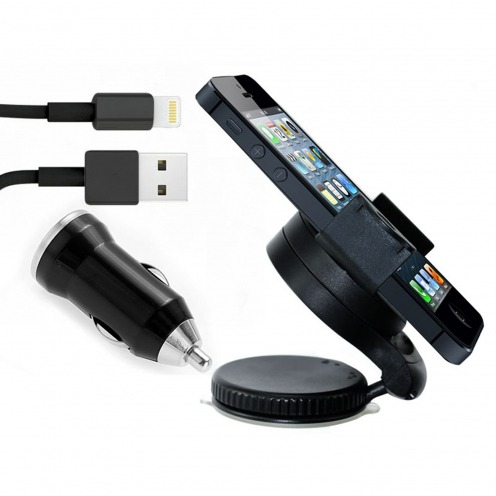 Mini Support voiture + Mini chargeur + Câble iPhone 5