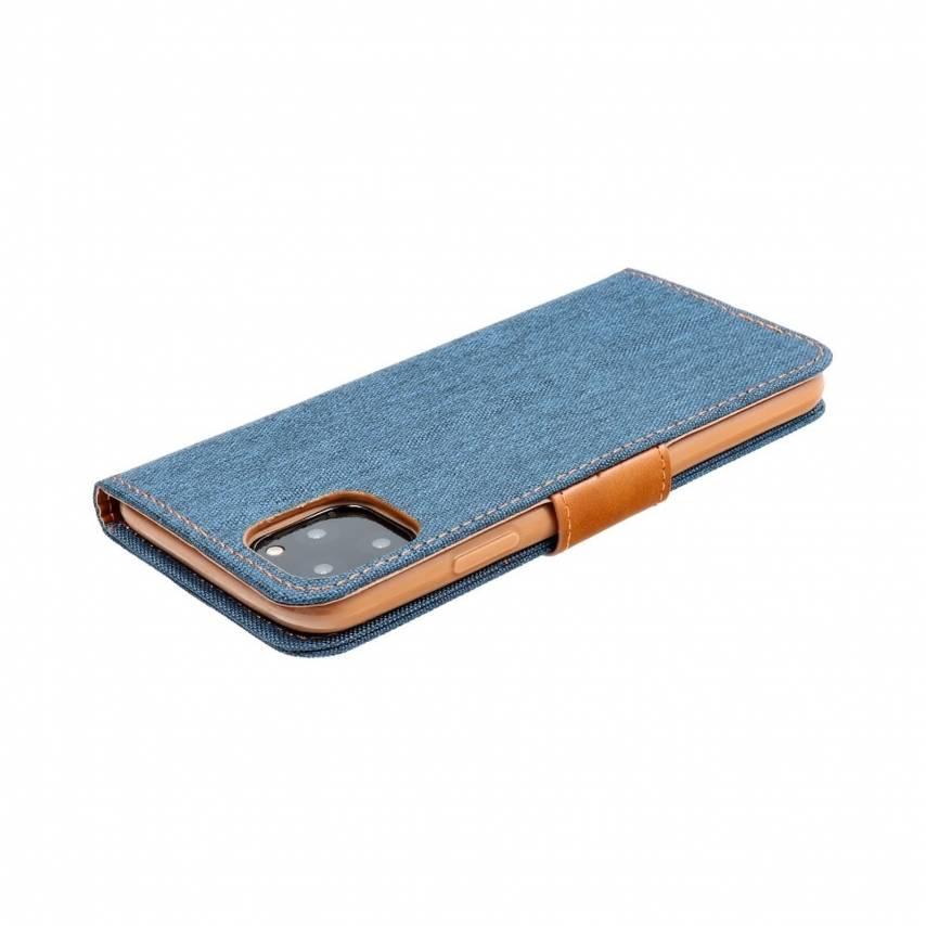Coque Etui Canvas Book pour Samsung A10 Bleu Marine