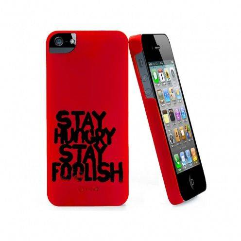 Zoom sur Coque Muvit® Stay Hungry Stay Foolish rouge pour iPhone 5