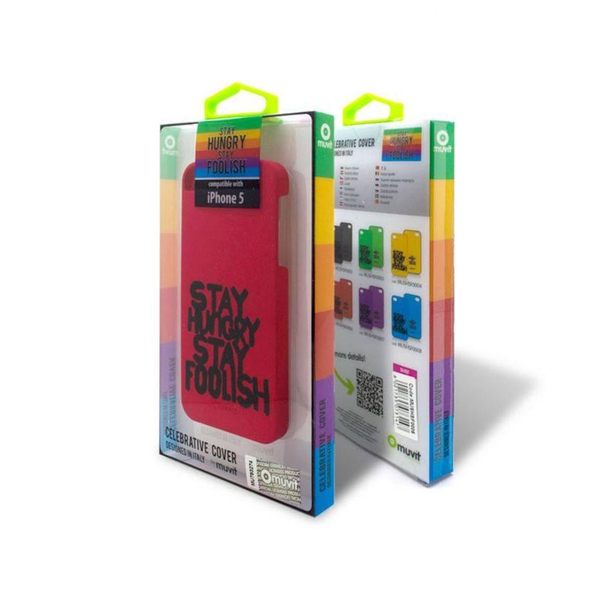 Visuel unique de Coque Muvit® Stay Hungry Stay Foolish rouge pour iPhone 5