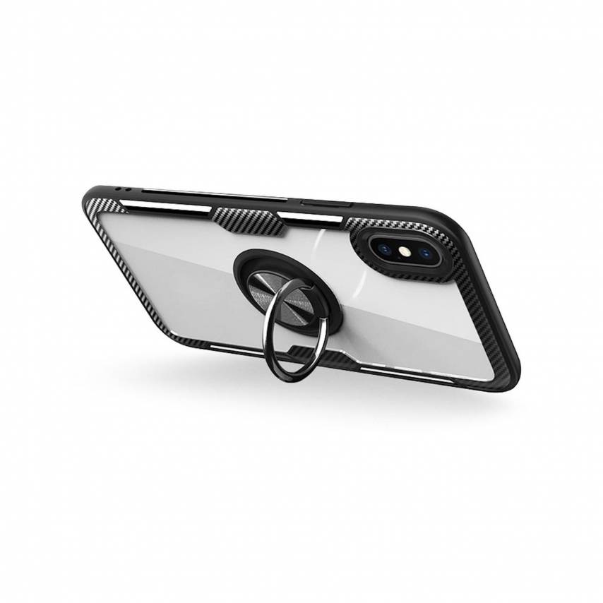 Coque CARBON CLEAR RING pour iPhone 7 / 8 / SE 2020 Noir
