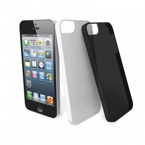 Zoom sur 2 coques Muvit® Ultra Thin noire blanche pour iPhone 5