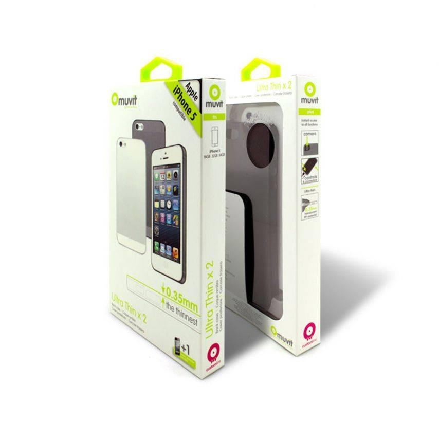 Visuel unique de 2 coques Muvit® Ultra Thin noire blanche pour iPhone 5