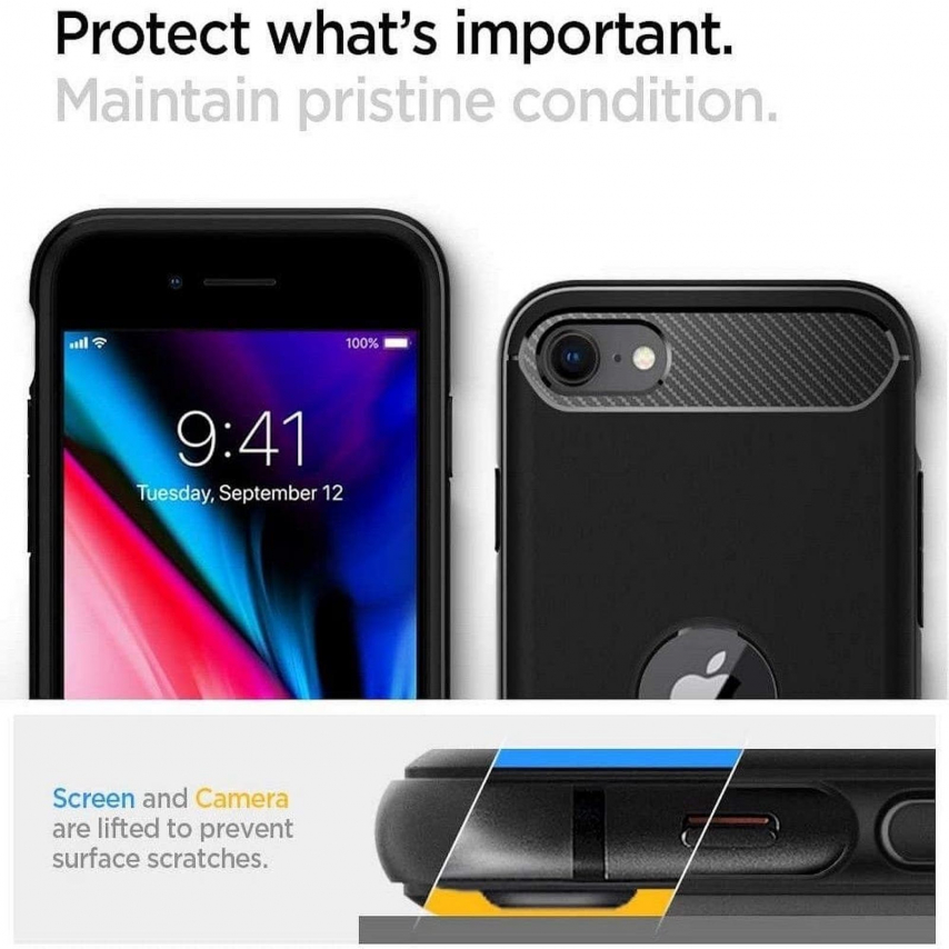 Coque Spigen© Rugged Armor pour iPhone SE 2020 Noir