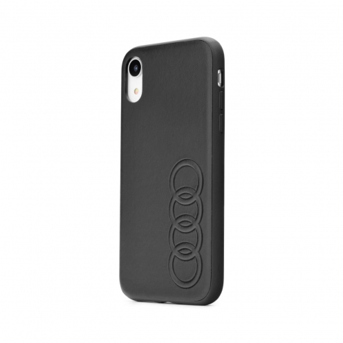 Coque AUDI® Cuir Véritable AU-TPUPCIPXR-TT/D1-BK iPhone Xr Noir