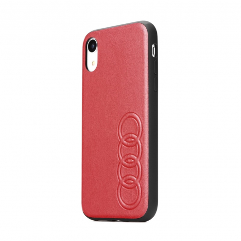Coque AUDI® Cuir Véritable AU-TPUPCIPXR-TT/D1-RD iPhone Xr rouge