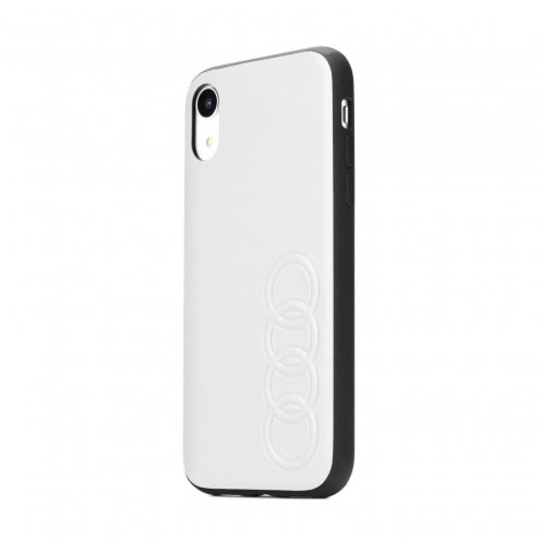 Coque AUDI® Cuir Véritable AU-TPUPCIPXR-TT/D1-WE iPhone Xr Blanc