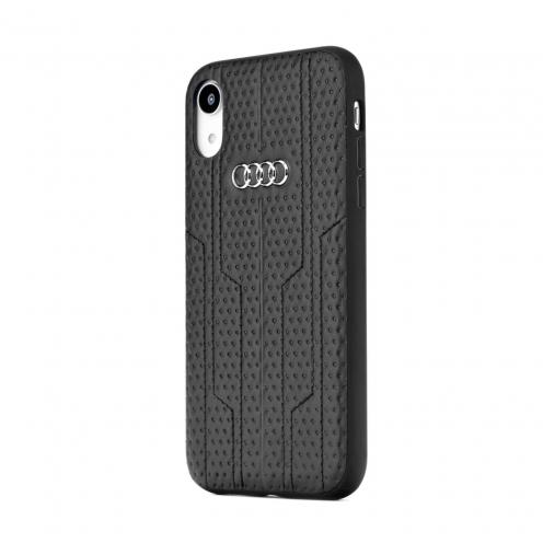 Coque AUDI® Cuir Véritable A6/D1 AU-TPUPCIPXS-A6/D1-BK iPhone X/Xs Noir