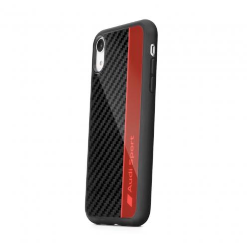 Coque AUDI® Fibre Carbon AUS-TPUPCIPXS-R8/D1-RD iPhone X/Xs rouge