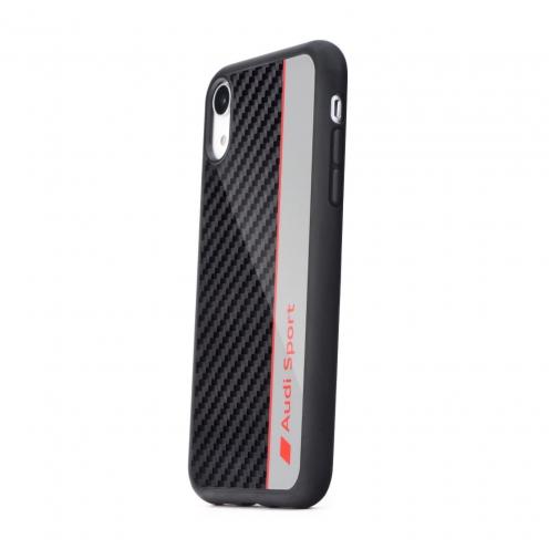 Coque AUDI® Fibre Carbon AUS-TPUPCIPXR-R8/D1-GY iPhone Xr Gris