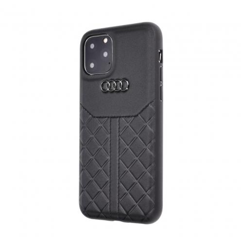 Coque AUDI® Cuir Véritable AU-TPUPCIP11R-Q8/D1-BK iPhone 11 Noir
