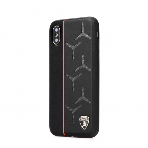 Original Leather Coque Lamborghini AVENTADOR D12 LB-TPUPCIPXS-AV/D12-OE iPhone X/Xs Noir