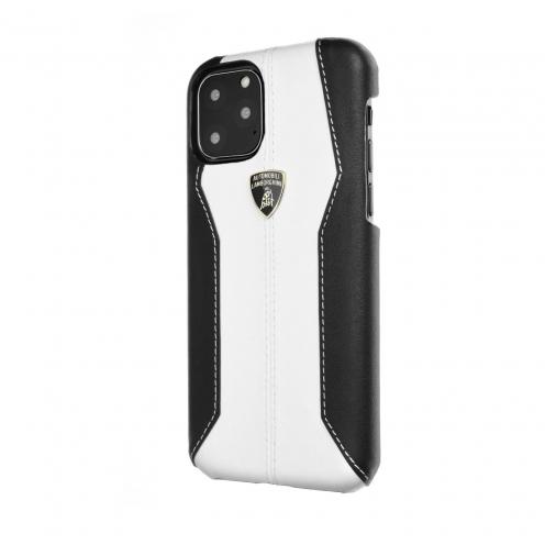 Coque Cuir Véritable Lamborghini Huracan-D1 LB-HCIP11-HU/D1-WE iPhone 11 Pro Blanc