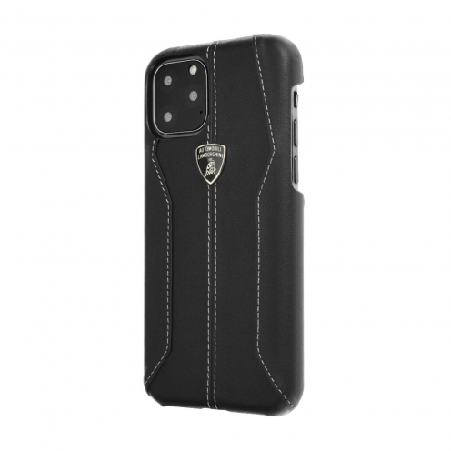 Coque Cuir Véritable Lamborghini Huracan-D1 LB-HCIP11R-HU/D1-BK iPhone 11 Noir