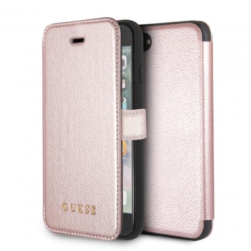 Etui Folio Book GUESS® GUFLBKI8IGLRG iPhone 7/8 rose-Or