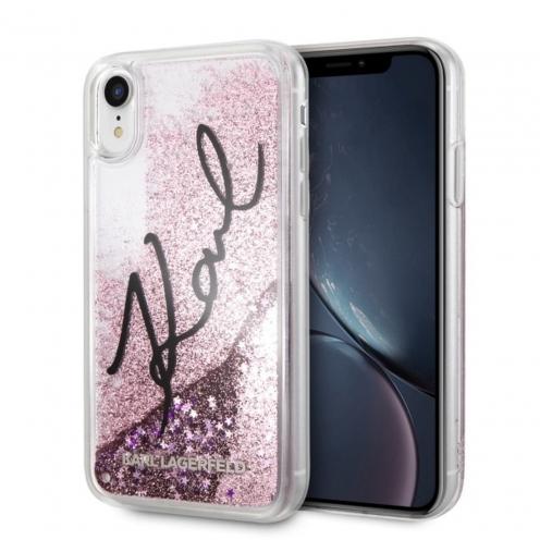 Coque Karl Lagerfeld® KLHCI61TRKSIGPI iPhone XR transparent Rose