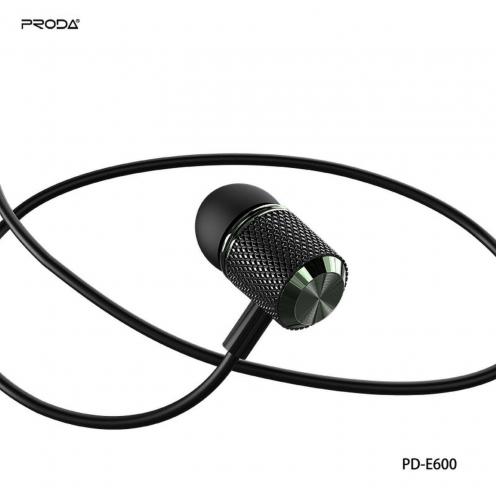 Remax© Proda Ecouteurs stereo jack 3,5mm PD-E600 Noir