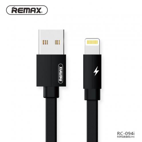 Remax® câble USB pour iPhone Lightning Kerolla RC-094i 2m Noir