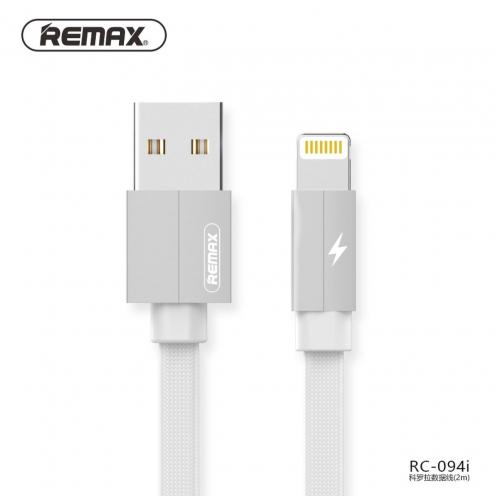 Remax® câble USB pour iPhone Lightning Kerolla RC-094i 2m Blanc