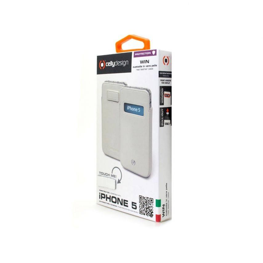 Visuel unique de Etui cuir véritable pouch Cellydesign® Win blanc pour iPhone 5
